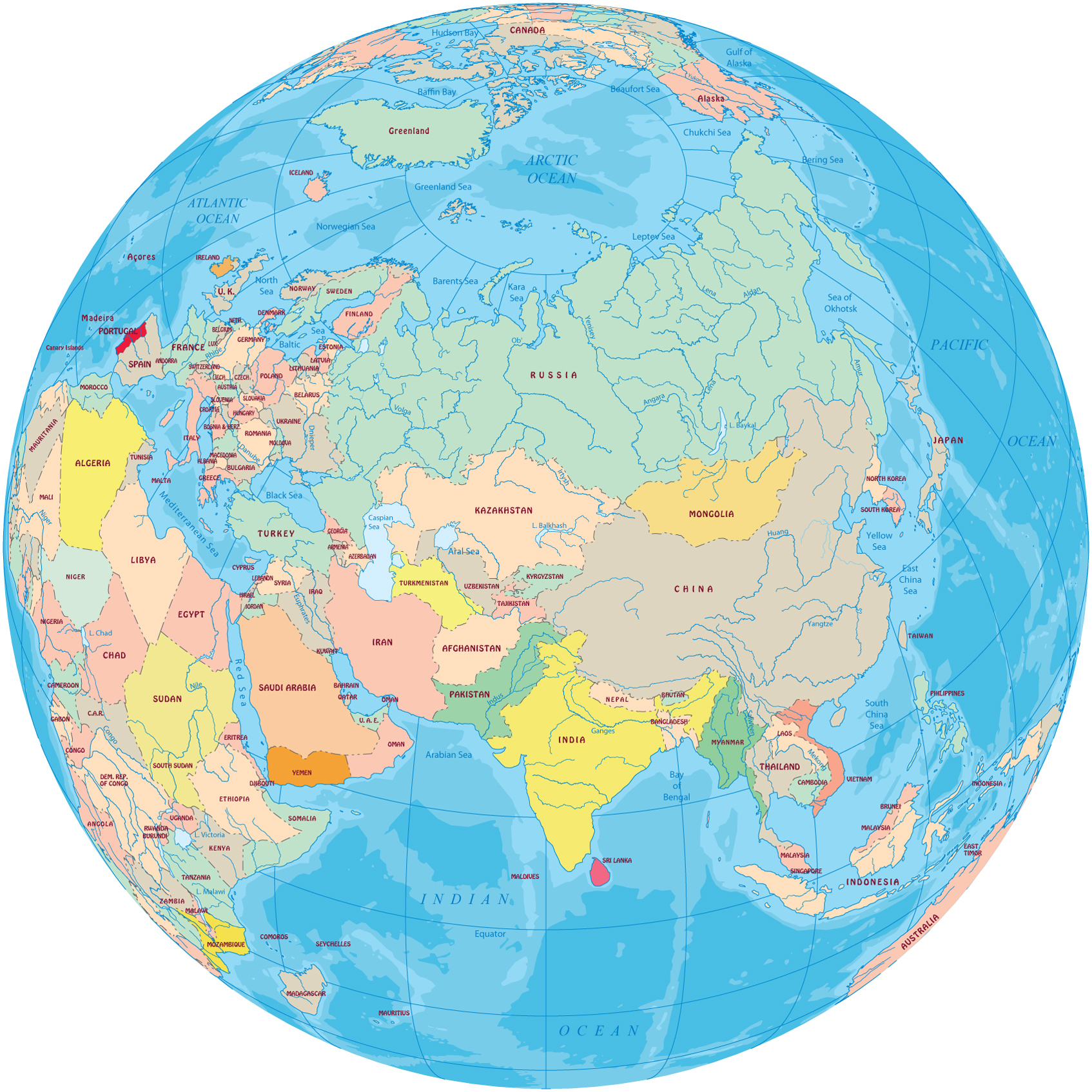 A Political Map Of The World.Asia Political Map