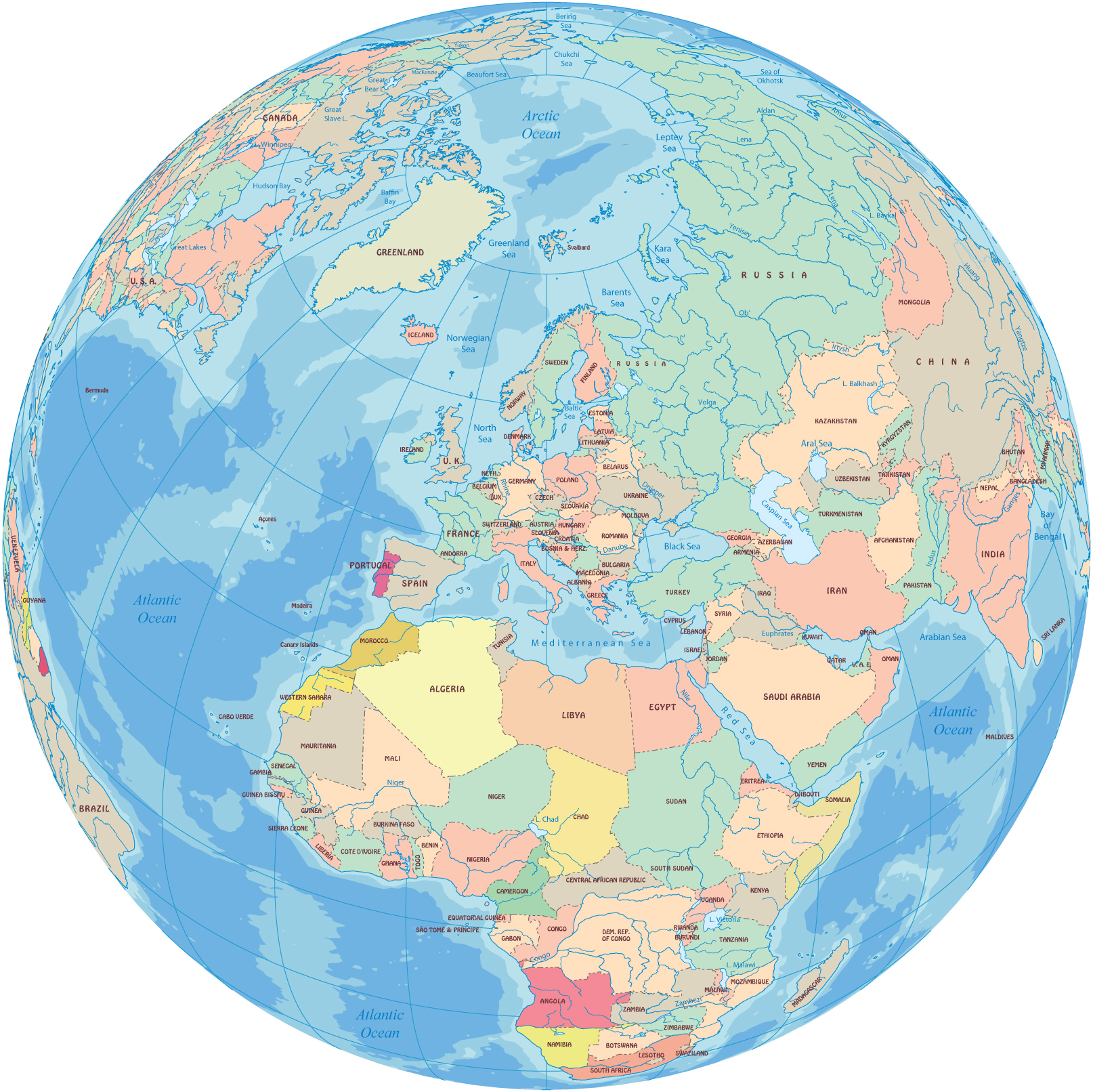 Europe Map on map earth's, map of the world, world globe, printable globe, topographic map, mappa mundi, thematic map, map of the volcano,