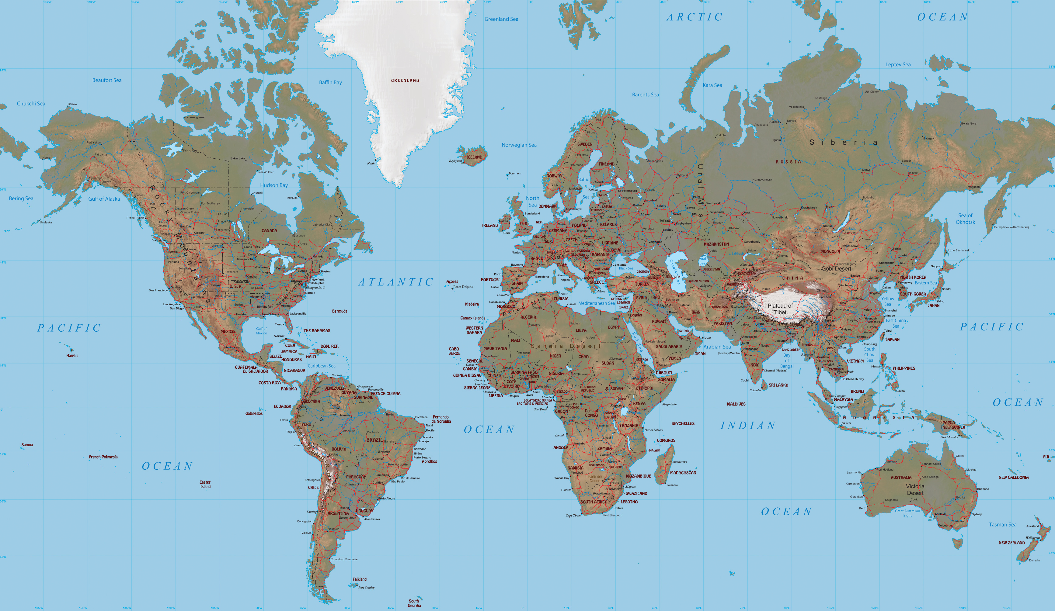 """Mercator Projection - World Map on physical map, gnomic map, equal area map, isoline map, transverse mercator projection, latitude map, mollweide projection map, cylindrical map, proportional symbol map, waterman """"butterfly"""" world map projection, conical map, gall peters map, polar map, conic map, map projection, robinson map, peters projection map, azimuthal map, ortelius map, fuller map, dymaxion map, flow line map, gerardus mercator, conformal map, thematic map, chloropleth map,"""
