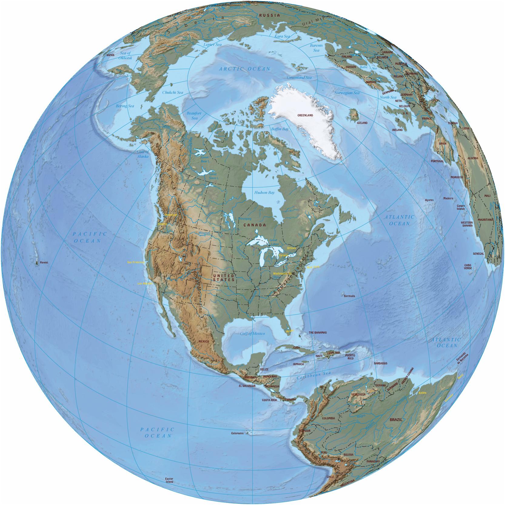north america in the globe