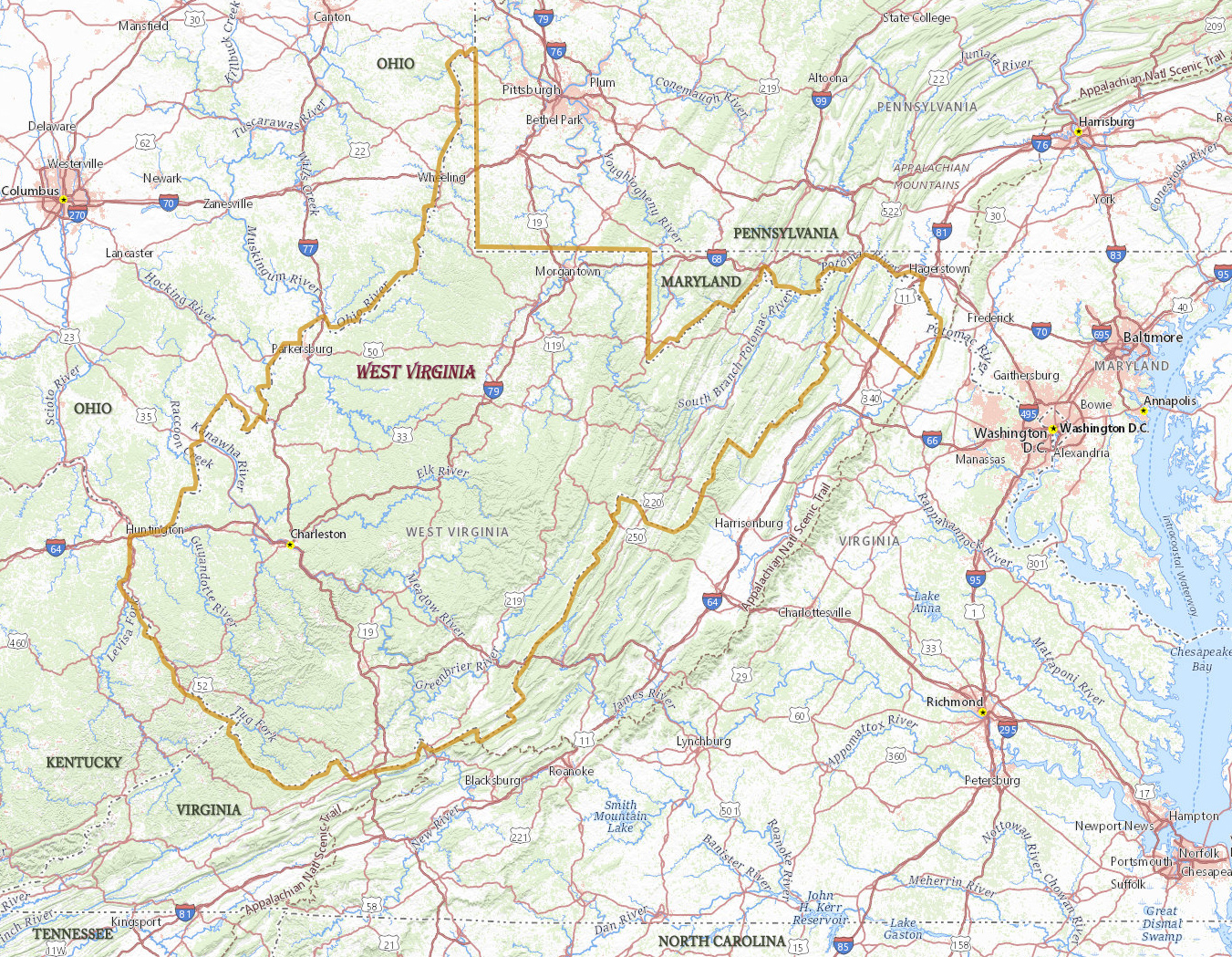 Map of West Virginia - Travel United States